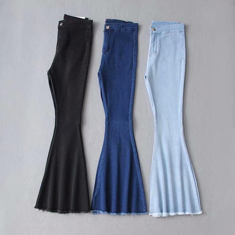 2019 High Waist Stretch Female Flare Boyfriend   Jeans   For Women Wash Denim Plus Size Black Wide Leg Mom   Jeans   Skinny   Jeans   Woman
