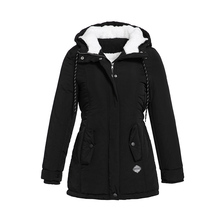 Rosetic Women Jackets Casual Winter Warm Simple Black Gothic Slim Hooded Zipper Pocket Solid Coats OL Female Fashion Overcoats