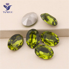 3dd102faab YANRUO  4120 todos los tamaños Olivine Oval coser en piedras de cristal en  cristal Strass costura Rhinestone para la joyería
