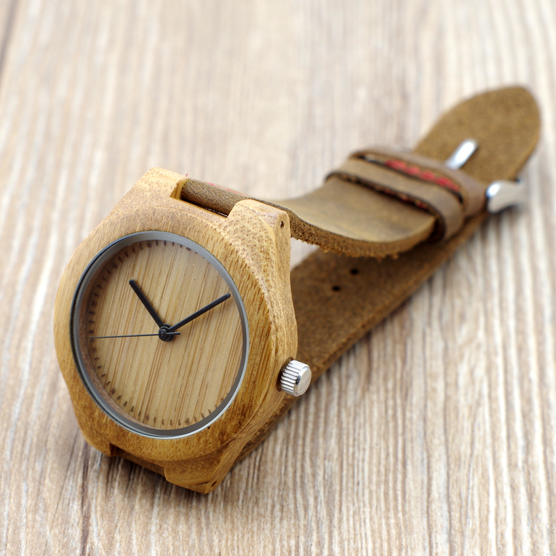 BOBO BIRD Women Watches Bamboo Wristwatches With Genuine Cowhide Leather Band Wooden Fashion Watches as Gifts for female friends bobo bird brand new sun glasses men square wood oversized zebra wood sunglasses women with wooden box oculos 2017
