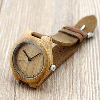 BOBO KUŞ Kadın Hakiki Inek Derisi Deri Band Ile Saatı Saatler Bambu Ahşap Moda bayan arkadaşlar için Hediye olarak Saatler