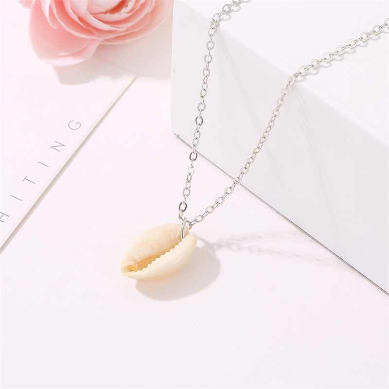 Fashion Sea Shell Simple Pendant Chocker Necklace For Women Gold Silver Color Chain Ivory Conch Bohemian Beach Jewelery