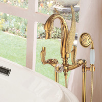 Floor standing Gold finish PVD SWAN Bath shower Bathtub Faucet WITH Hand Shower Crystal Diverter