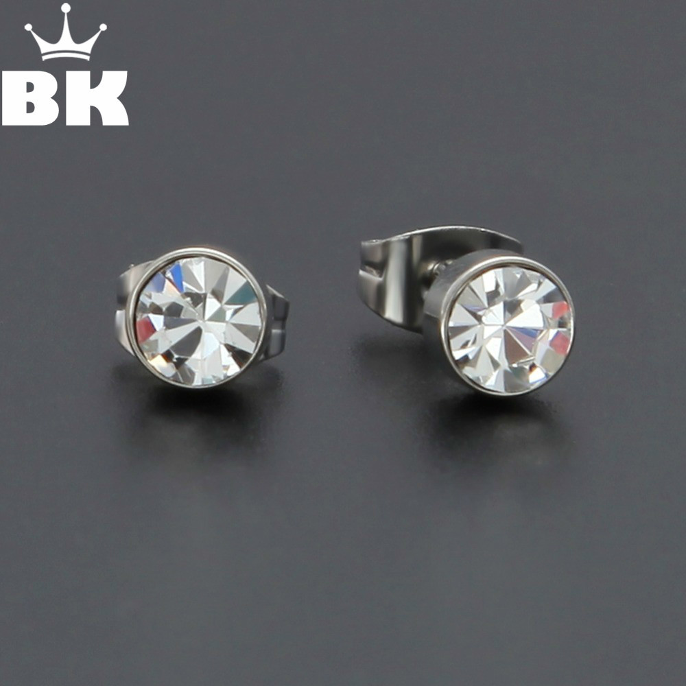 Stainless Steel Silver Plated Rhinestone Stud Earring Women Round Crown Screw Back Earring Jewelry Brinco Pequeno