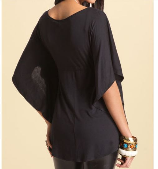 af38bc99cda0e1 Women Plus Size Summer Tops Stylish Loose Fitting Plunging Neckline Batwing  Sleeve Blouse Tops Sexy Black Shirts For Women-in Blouses & Shirts from  Women's ...