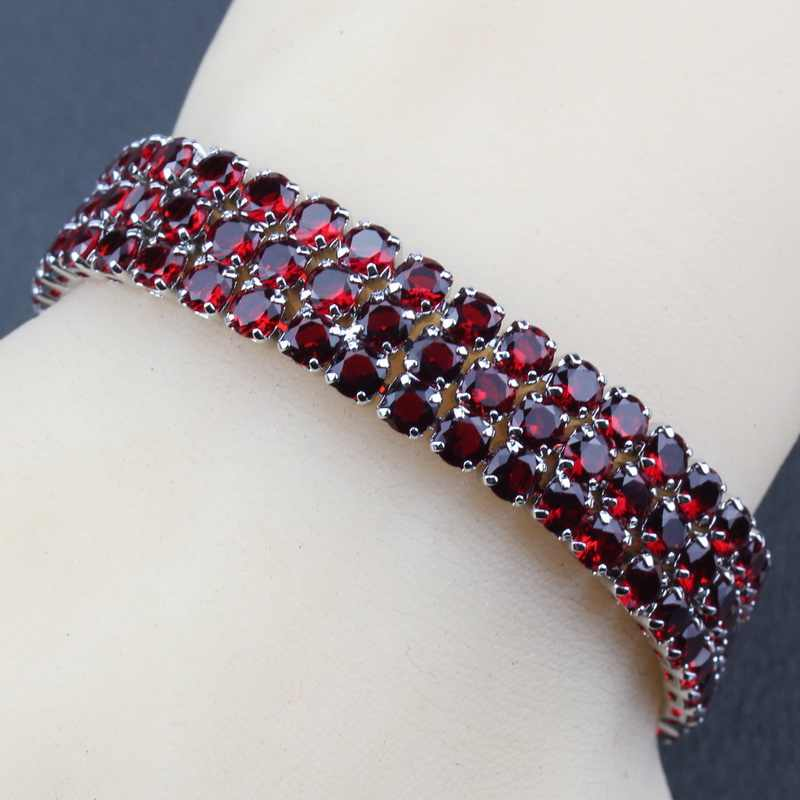 AAA+ Quality 925 Silver Red Garnet Link Chain Bracelet Length 19.5CM  Optional 5-Color For Women wedding Decoration