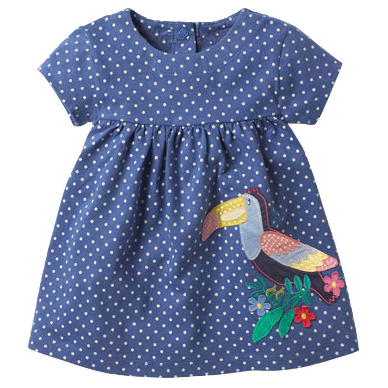 2018 Summer Toddler Girls Dress with Applique cute Bird Children  Dot Print  clothes Kids  Baby Princess  Short Sleeve Dresses