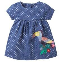 2018 Sommer Kleinkind Mädchen Kleid mit Applique niedlichen Vogel Kinder Dot Print Kleidung Kinder Baby Prinzessin Kurzarm Kleider