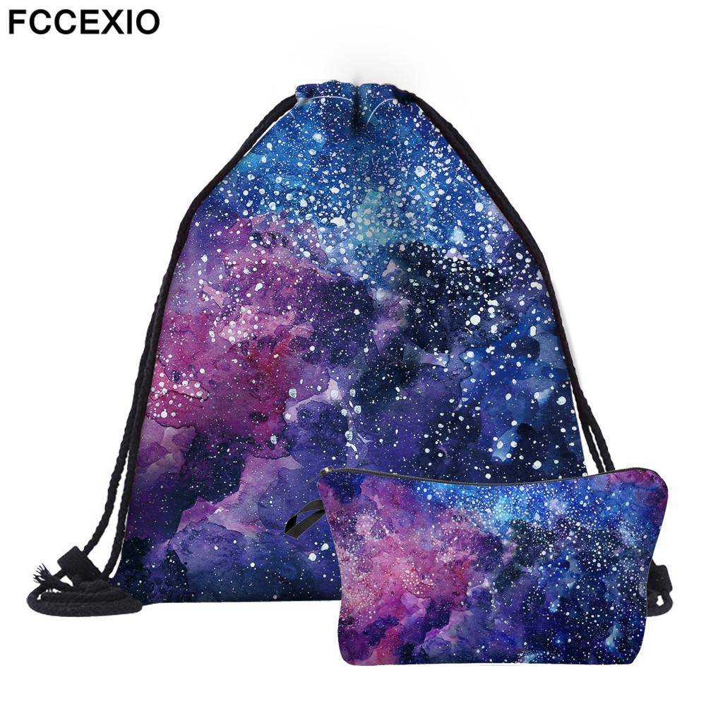 FCCEXIO New 2PCS Drawstring Bags 3D Printed Starry Sky Fashion Schoolbags Travel Bag School Backpack Street Shoulder Bags