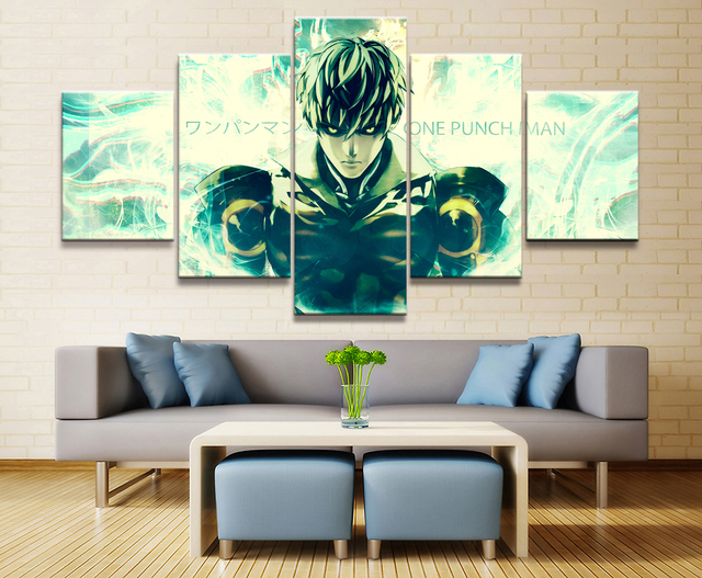 5 Panel One Punch Man Genos Anime Figure Canvas Painting Printed For Living  Room Wall Art Decor HD Picture Artworks Poster