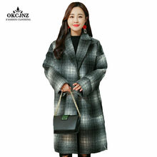 331519d7334f Cashmere Clothes Black And White Plaid Jacket 2018 Autumn Winter Overcoat  Women New Korean Style Elegant Wool Coat Female J118