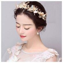 Handmade Bow Flower Headbands for Women Wedding Bridal Bridesmaids Headband Pearl Hair Jewelry Girls Crystal Hair Ornaments S506
