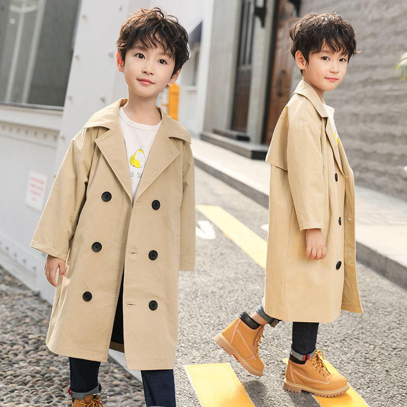 Trench Coat For Boy 2018 Autumn Full Sleeve Long Windbreaker Jackets Solid Trench For Boy Korean Style Trench Enfant 4 6 8 10 12 korean style turndown collar solid color double breasted long sleeves polyester trench coat for men