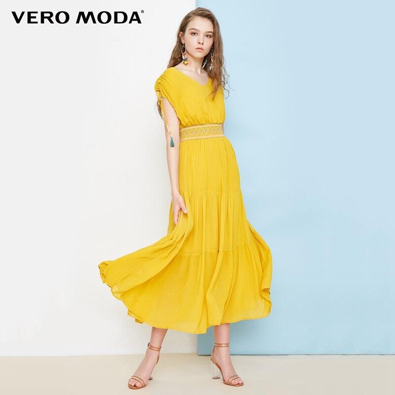 Vero moda estilo boho V-neck maxi/long summer beach dress 2019   31827A575