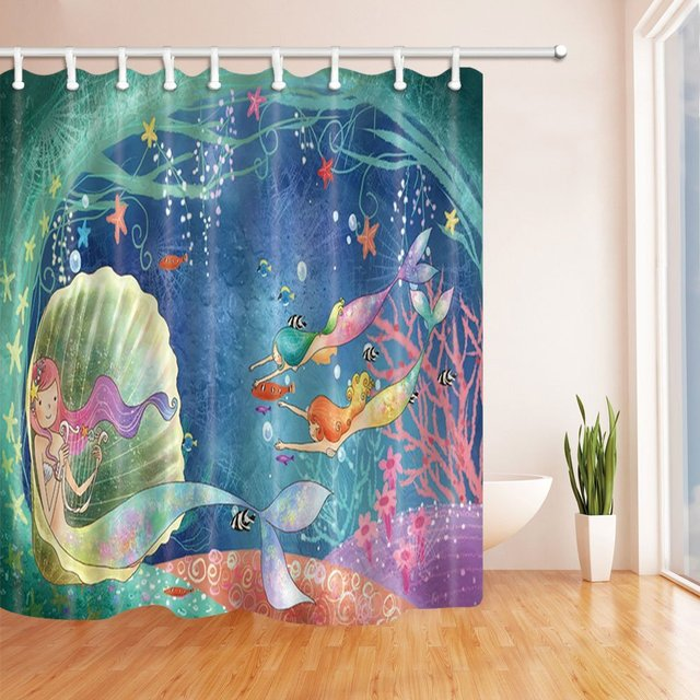 Ocean Decor Cute Mermaid Swimming In The Sea Mildew Resistant Polyester Fabric Shower Curtains