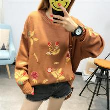 2018 autumn new retro long sleeves O collar women sweater flowers embroidered casual loose knitted pullovers sweaters