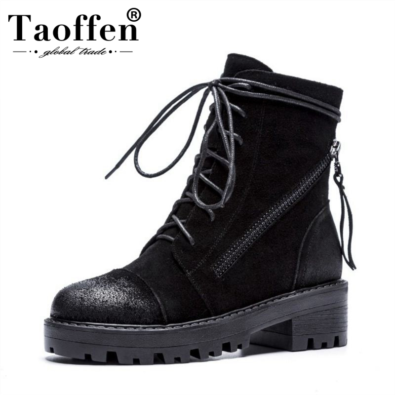 TAOFFEN Woman Ankle Boots Genuine Leather Womens Shoes Square Heel Women Boots Retro Fashion Shoes Woman Footwear Size 34-39TAOFFEN Woman Ankle Boots Genuine Leather Womens Shoes Square Heel Women Boots Retro Fashion Shoes Woman Footwear Size 34-39
