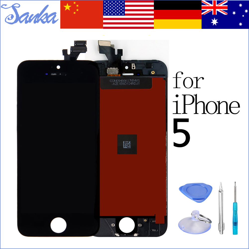 SANKA AAA for LCD iPhone 5 LCD Touch Screen Replacement With Display Digitizer Ecran Screen Assembly Black Mobile Phone Parts