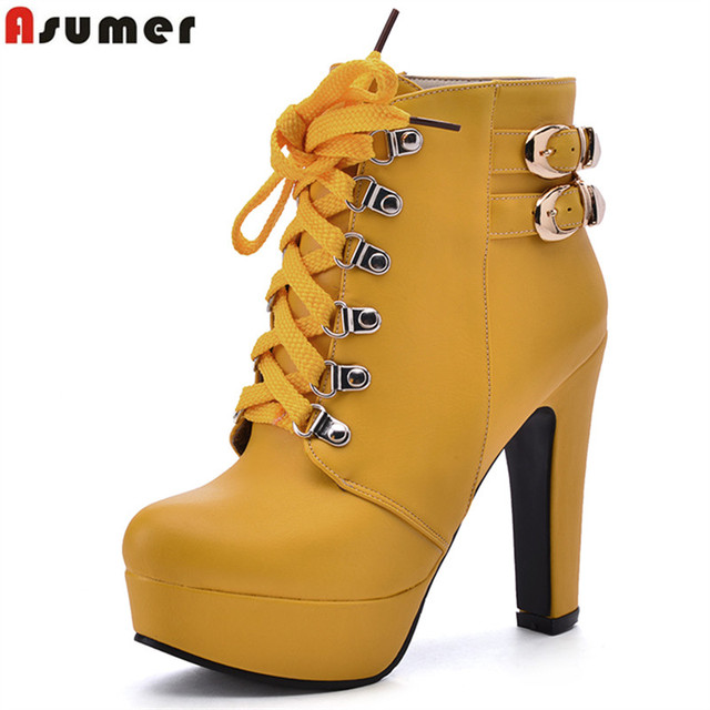 Asumer plataforma nueva moda encaje hasta tobillo botas plataforma Asumer zapatos 72ed5e