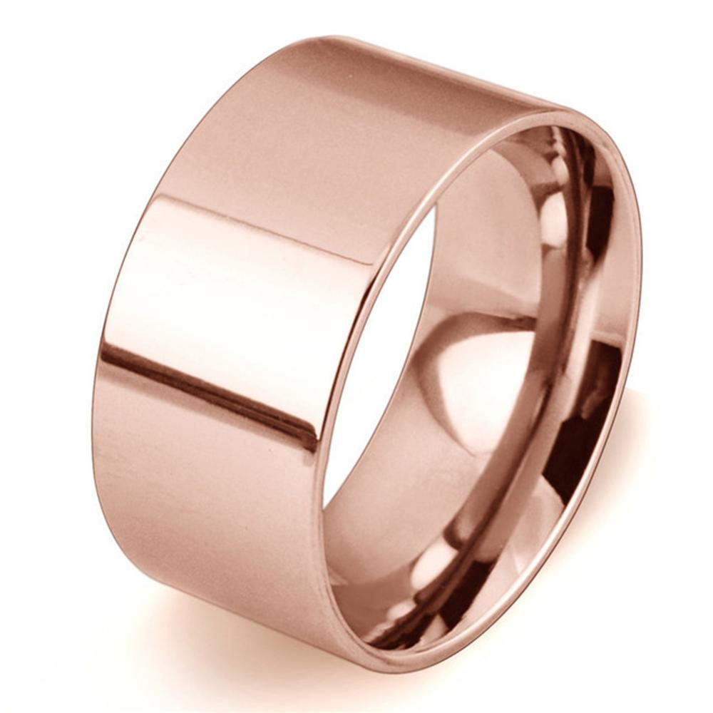 Rose Gold/Silver Plated/Gold Color Simple Design 10MM Wide Stainless Steel Rings Trendy Wedding Ring Jewelry For Women Men(China)