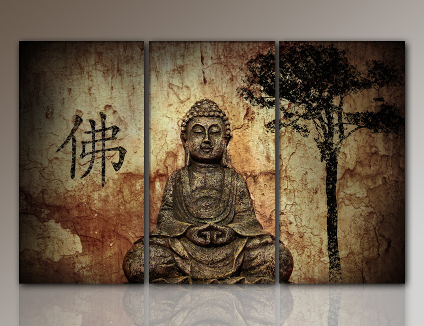 HD Buddha CANVAS PRINTS Modern 3 Panels Unframed Painting