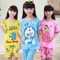 Летние pijamas детей 2016 подогреватели-новые малышей мальчики пижамы комплект мультфильм печать с коротким рукавом + короткие штаны детей пижамы