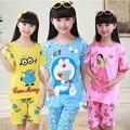 Pijamas de verão 2016 criança meninos meninas pijamas de manga curta dos desenhos animados + calças crianças sleepwear