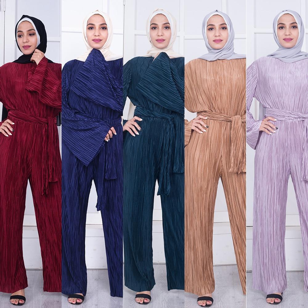 2018 Abaya Dubai Arabische Islam Ramadan Marokkaanse Kaftan Flare Mouw Geplooide Jumpsuit Vrouwen Caftan Islamitische Kleding Eid Mubarak Duurzame Service
