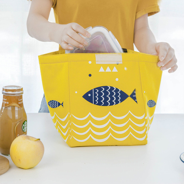 Fish Print Waterproof Oxford Lunch Bag 3