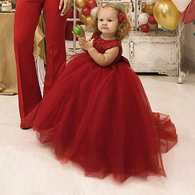 Cute Red Kids Birthday Party Gowns 2018 New Arrival Lace Tulle Flower Girl Dress With Bow Any Size Any ColorCute Red Kids Birthday Party Gowns 2018 New Arrival Lace Tulle Flower Girl Dress With Bow Any Size Any Color