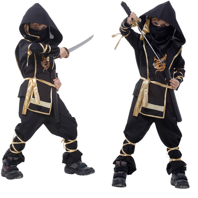 2016 New Hot Kids Ninja Costumes Halloween Party Boys Girls Warrior Stealth Children Cosplay Costume Children's Day Gifts