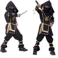 2016 New Hot Kids Ninja Costumes Halloween Party Boys Girls Warrior Stealth Children Cosplay Costume Children