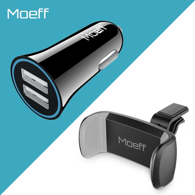 Moeff Universel De Voiture Support de Téléphone Stand Mobile Double Usb Chargeur De Voiture pour Iphone 6 Sumsung Air Vent Mount Support De Voiture 360 Degrés