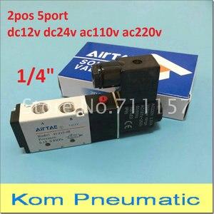 "Image 1 - Free Shipping 1/4"" 2 Position 5 Port Air Solenoid Valves 4V210 08 Pneumatic Control Valve , 12v 24v 110v 220v"