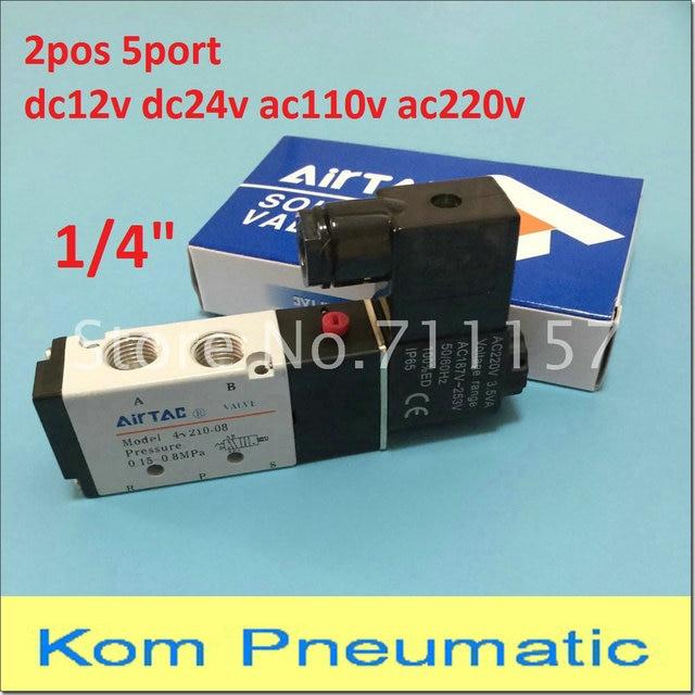 "Free Shipping 1/4"" 2 Position 5 Port Air Solenoid Valves 4V210 08 Pneumatic Control Valve , 12v 24v 110v 220v"