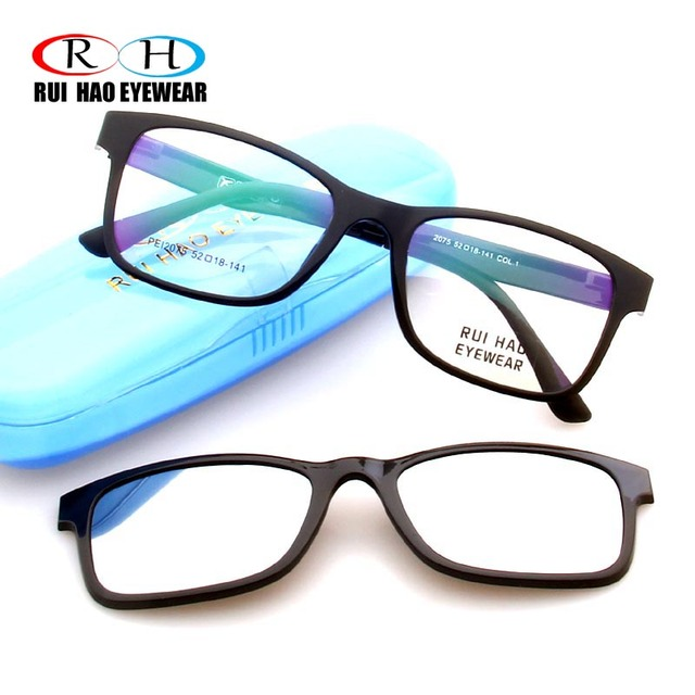 cdba61ac0c1 Rui Hao Eyewear Optical Eyeglasses Frame Men Prescription Glasses Frames  Sunglasses Clip on Magnetic Polarized Sunglasses Clip