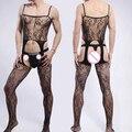 2016 Sexy Multicolor Hombres Calcetines medias Del Cuerpo Net Mesh Ropa Interior Erótica Gay Hombres Bodyhose Hombres stocking Pantimedias con entrepierna Abierta