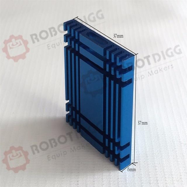 10pcs/lot  37mm length 37mm width 6mm height   High Quality Super Heat Conduction Aluminum Blue Heatsink with 3M Tape