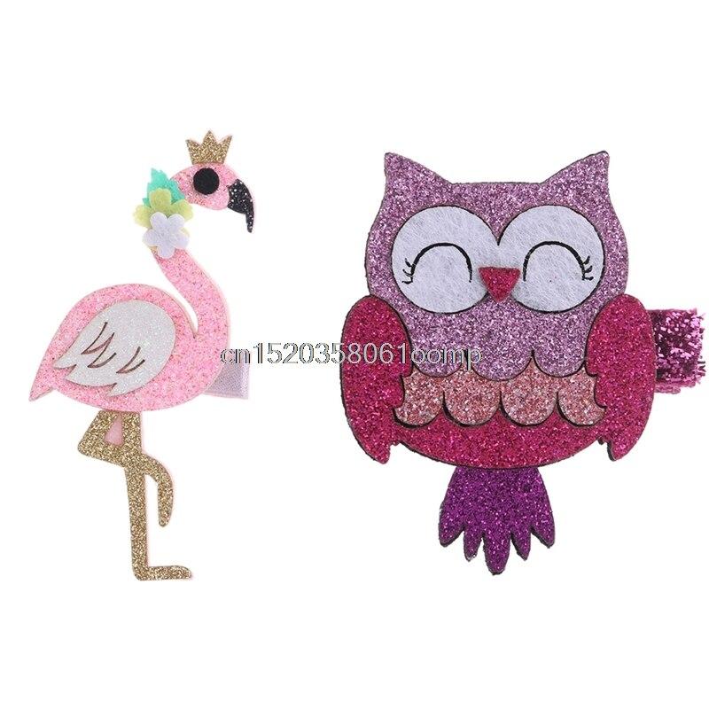 Мода Мультфильм фламинго и сова детские заколки дети Заколки для волос детская Головные уборы # K4UE # Прямая поставка