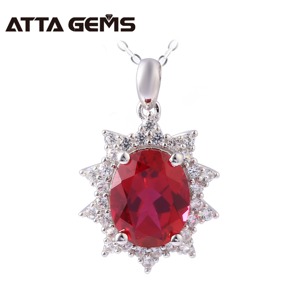 Red Ruby Sterling Silver Pendants Women Romantic Pendants 2.9 Carats Created Ruby Fine Jewelry Women Wedding Engagement Necklace red ruby sterling silver women wedding band silver ring 2 1 carats created ruby gemstone engagement romantic style rings