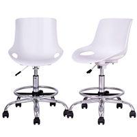 Giantex комплект из 2 шт., стол и стул PP Поворотный регулируемая высота офисного кресла современная мебель для дома с подножкой HW56382WH