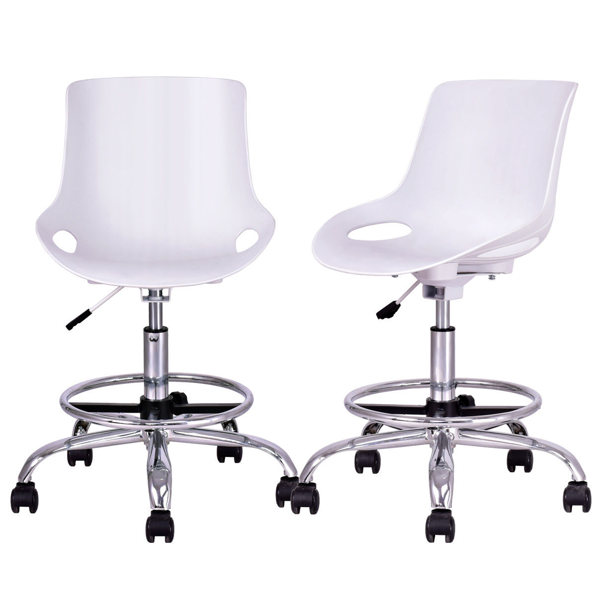 Giantex Set of 2pcs Armless Desk Chair PP Swivel Height Adjustable Office Chair Modern Home Furniture with Footrest HW56382WH