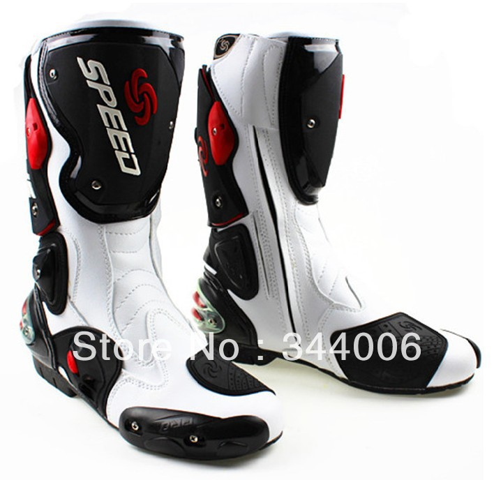 New Cool boots high quality white motorcycle boots Pro Biker SPEED Racing Boots,Motorbike boots цена