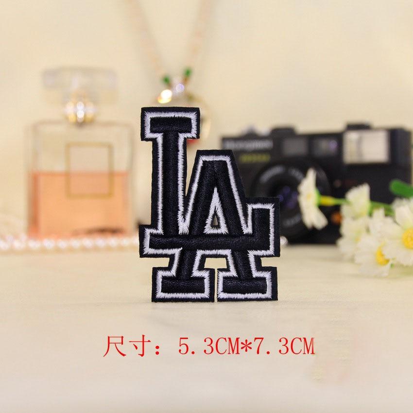 1Pcs New Black LA Los Angeles Dodgers Embroidery Iron On Patches Clothes Appliques Motif ...
