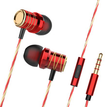 Metal Earphones 3.5mm In-ear with Microphone Wire Headset fo
