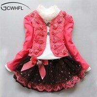 2015 Spring Autumn Cchildren Clothing Suit Girl Child Dress Princess Lace Three Piece Sets