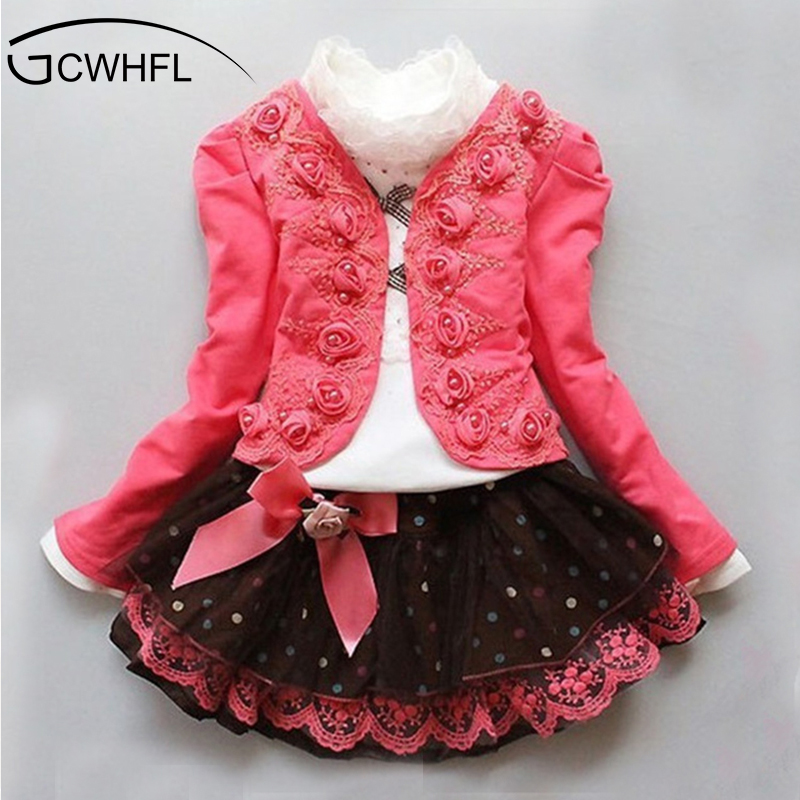 2017 Spring Autumn New Fashion Children Clothing Girls Floral Dress Suit Kids Princess Lace Three-piece Sets цены онлайн