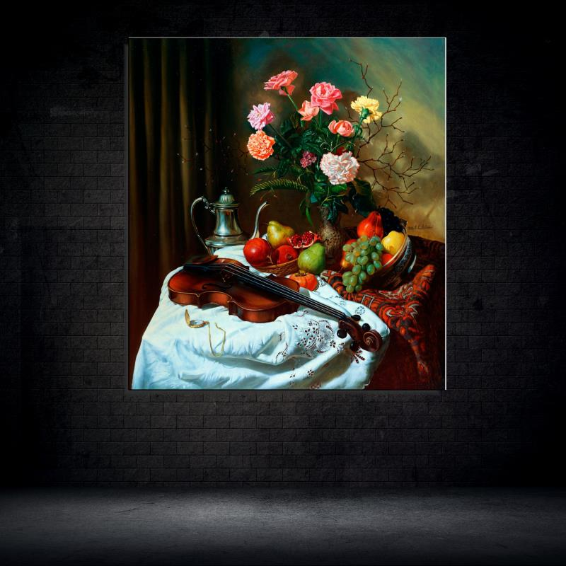 Rose font b Violin b font Grape Pear Still life Classic Unframed Oil Painting Canvas Frameless