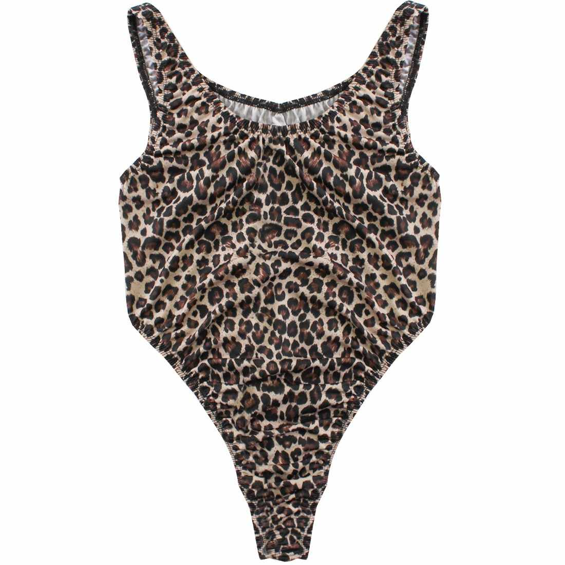 7d4d051e2b ... Leopard Bodysuit Women Sleeveless Sexy One Piece Swimsuit High Cut  Thong Leotard Lady Gymnastics Dancewear Party ...
