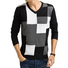 Hot Sale Men's Fashion Splicing Patchwork Pullovers Male Casual V-neck Easy-match Comfortable Sweater